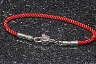 Красный браслет шёлк, серебро, цирконий