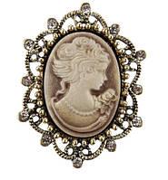 Брошь Vintage Style Камея коричневая/ цвет коричневый, основа бронза