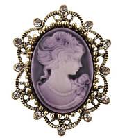 Брошь Vintage Style Камея фиолетовая/ цвет фиолетовый, основа бронза