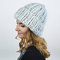 Объемная  шапка из перуанской шерсти. Цвет: Нежно-Голубой