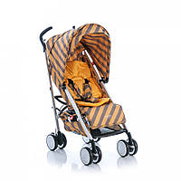 Детская прогулочная коляска GB D021 пятиточечный ремень корзина капюшон Желто серая  в полоску