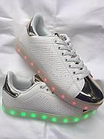 Белые женские кроссовки с подсветкой блестящий носок  (змеиная кожа) 40-41р