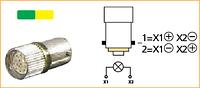 Світлодіод -2 кольори- 24 В DC, колір 1-зелений, 2-жовтий, для пристроїв керування та сигналізації з підсвіткою