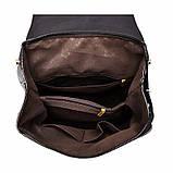 Рюкзак жіночий шкіряний з клапаном на кнопці (чорний), фото 6