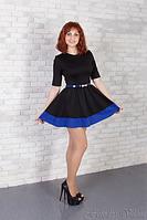 Коктейльное трикотажное платье с поясом в комплекте
