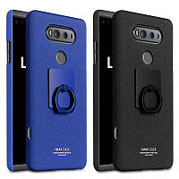 Пластиковый чехол Imak с кольцом подставкой для LG V20 чёрный и синий