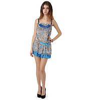 Туника шифоновая леопардовая голубая