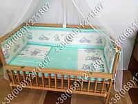 """Детское постельное белье в кроватку """"Карапуз"""" комплект 7 ед. (мишка игрушки салатовый)"""