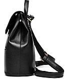 Рюкзак жіночий шкіряний з клапаном на кнопці (чорний), фото 4