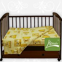 Комплект постельного белья бязь голд  в кроватку , цв. голубой с рисунком