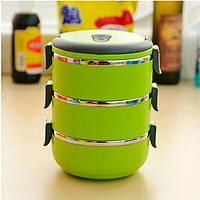 Переносная емкость для хранения продуктов 3 Layer Stainless Steel Lunch Box (3 шт.)