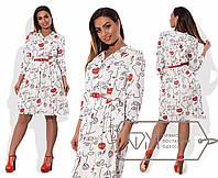 Модное удобное яркое женское платье большого размера