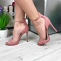 Женские летние босоножки на каблуке 11,5 см, эко замша / женские босоножки 2017, стильные