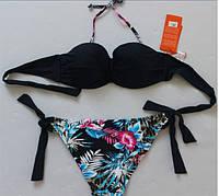 Цветастый легкий летний купальник PUSH-UP бандо для красивой девушки. Хорошее качество. Дешево.  Код: КГ738