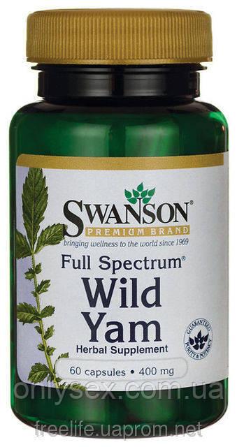 Дикий Ямс полного спектра, 400 мг, 60 капсул, Wild Yam, Swanson Premium  - onlysex в Киеве