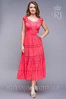 Платье с кружевом и  ярусами с широкой резинкой на талии яркие цвета
