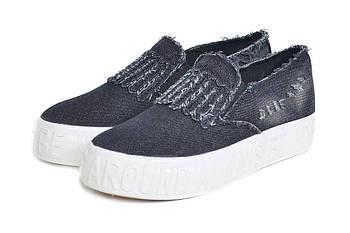 Слипоны женские Bona black jeans АКЦИЯ -50%