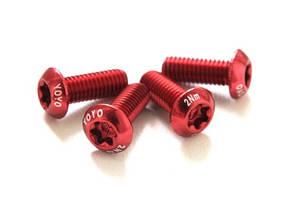 Болти для флягодержателя YOYO, алюмінієві, М5х13 мм, Червоні, 2 шт