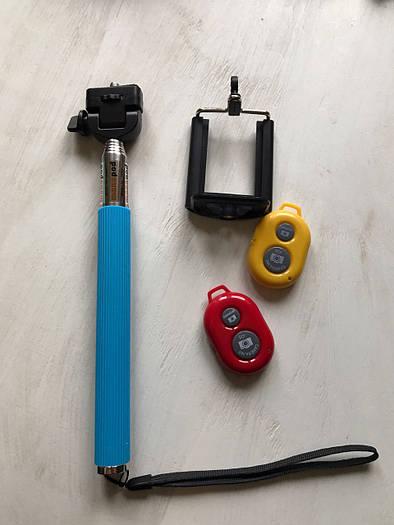 Голубой монопод (селфи палка) для телефона с пультом управления