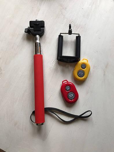 Красный монопод (селфи палка) для телефона с пультом управления