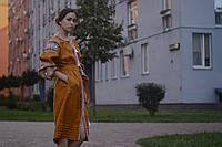 """Короткое платье вышиванка """"писанка"""" горчичное, вышивка черно-белая"""