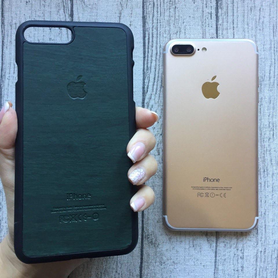 Пластиковый зелёный  чехол под дерево для iPhone 7 Plus