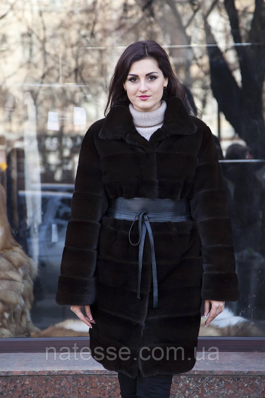 "Шуба з норки Nafa кольору ""Гіркий шоколад"" Real mink fur coats jackets"