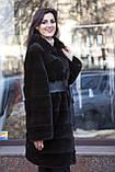 """Шуба з норки Nafa кольору """"Гіркий шоколад"""" Real mink fur coats jackets, фото 3"""