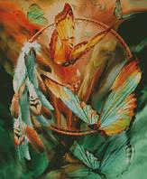 """Схема для вышивания """" Ловец снов с бабочками большая """""""