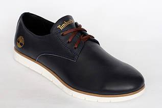 Женские стильные туфли   из кожи  синего цвета