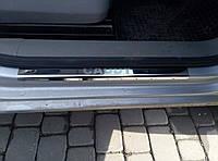 Volkswagen Caddy 2010-2015 гг. Накладки на дверные пороги Laser (2 шт, нерж)