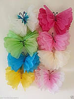 Бабочки из бумаги тишью  35 см. разные цвета