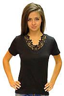 Черная футболка женская больших размеров летняя с коротким рукавом хлопок с кружевом трикотажная (Украина)