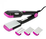 Бюджетный утюжок с насадкой гофре для волос Rotex RHC 370-N, 3 сменных пластины, мощность 25 Вт