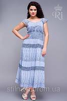 Платье  комбинация кружева и ткани  с широкой резинкой на талии большой размер, фото 1