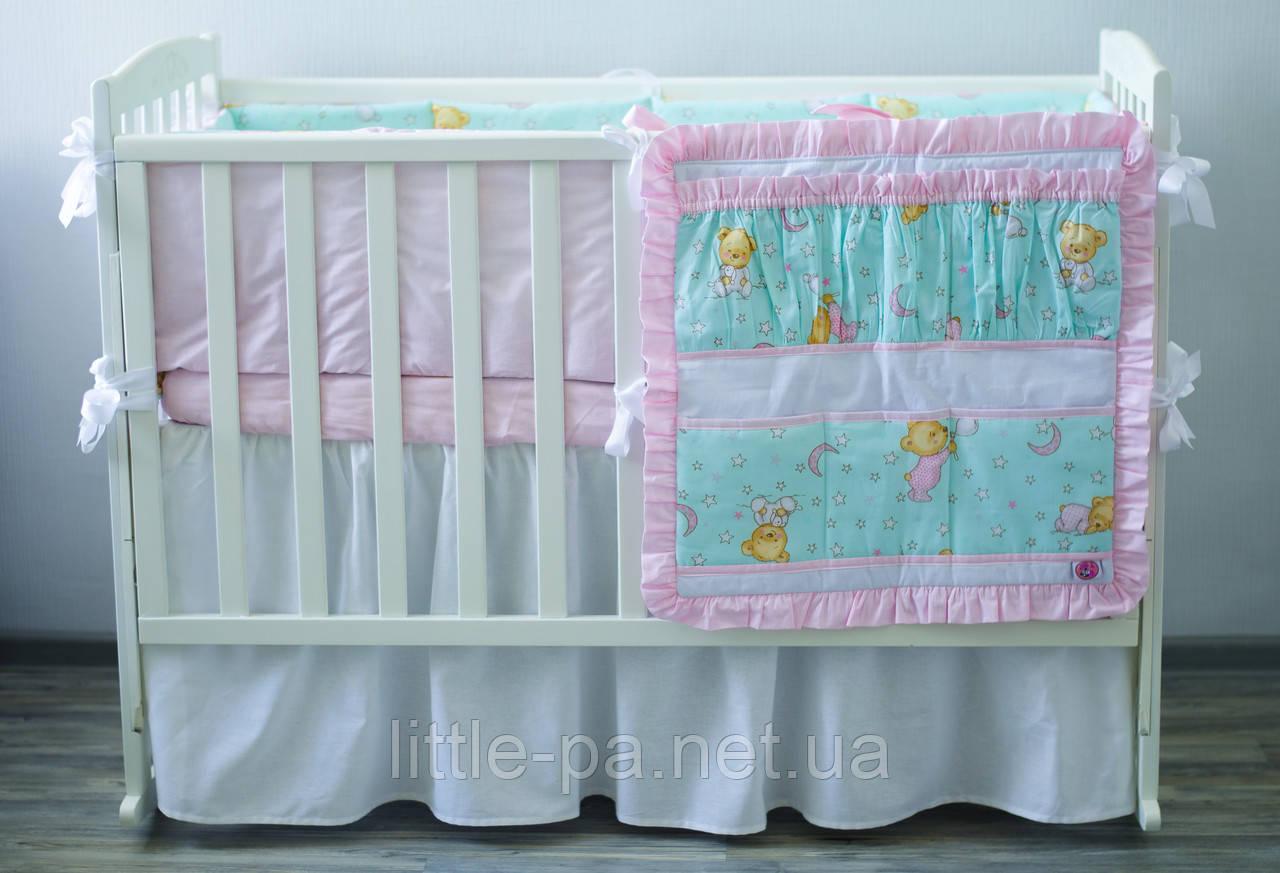 Хлопковое детское постельное «Мишки» (бирюза/розовый)