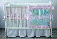 Хлопковое детское постельное «Мишки» (бирюза/розовый), фото 1