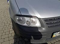 Volkswagen Caddy 2004-2010 гг. Реснички (2 шт, ABS) Черный глянец