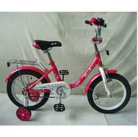 Детский двухколесный велосипед PROF1 L1482 14 дюймов Flower для девочки малиновый, фото 1