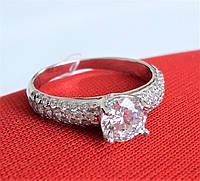 Серебряное родированное кольцо солитер с одним камнем россыпь цирконием 925 пробы