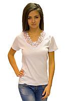 Белая футболка женская без рисунка летняя с коротким рукавом хлопок с кружевом трикотажная (Украина)