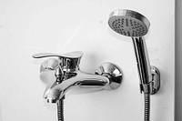Смеситель латунный для ванной Luna102   однорычажный ASCO armatura (Турция) короткий гусак, неповоротный литой гусак, с душем , керамический