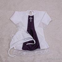 """Нарядна сорочка для хрестин """"Данила"""" біла з фиалетом, фото 1"""