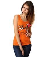 Майка женская с велосипедом оранжевая, фото 1