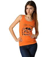 Майка женская с телефоном оранжевая
