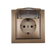 Розетка с крышкой, влагозащищенная IP44, с/з ElectroHouse(серия Enzo)