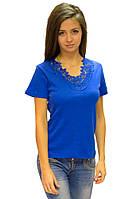 Синяя футболка женская без рисунка летняя с коротким рукавом хлопок с кружевом трикотажная (Украина)