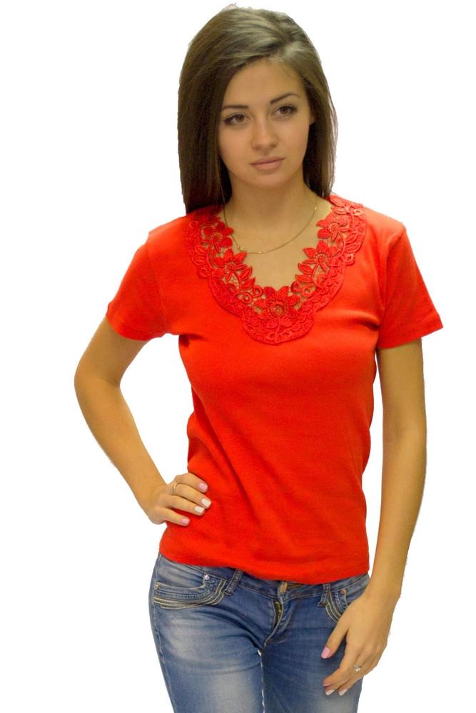 Красная футболка женская летняя с коротким рукавом однотонная хлопок с кружевом трикотажная Украина