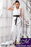 Женский брючный белый костюм с капюшоном (р. S, M, L) арт.12518