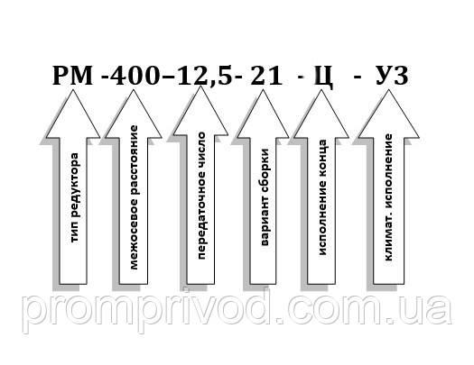 Условное обозначение редуктора РМ-400-12,5